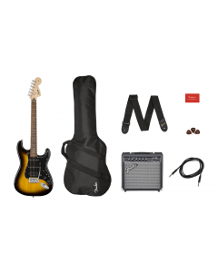 Squier Affinity Series Stratocaster HSS Electric Guitar Pack. Laurel FB, Brown Sunburst, Gig Bag, 15G -