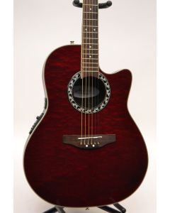 Applause AE128 Super Shallow Acoustic Electric Guitar Ruby Red Quilt Top SN1254