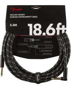 Fender Deluxe Series Instrument Cable, Straight/angle, 18.6' - Black Tweed