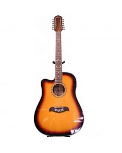 Oscar Schmidt OD312CETSLH Left Handed Cutaway 12 String Acoustic Electric Guitar. Tobacco Sunburst