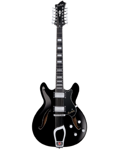 Hagstrom VIDLX12-BLK Viking Deluxe 12-String Electric Guitar. Black