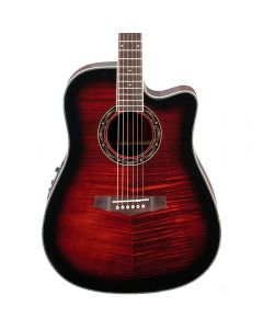 Ibanez Performance Series PF28ECE-TRS Acoustic-Electric Guitar Transparent Red Sunburst TGF11