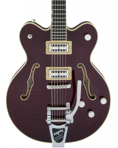 Gretsch G6609TFM Players Edition Broadkaster Center Block Double-Cut Electric Guitar with String-Thru Bigsby. USA Full'Tron Pickups, Tiger Flame Maple, Dark Cherry Stain