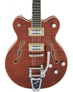 Gretsch G6609TFM Players Edition Broadkaster Center Block Double-Cut Electric Guitar with String-Thru Bigsby. USA Full'Tron Pickups, Tiger Flame Maple, Bourbon Stain