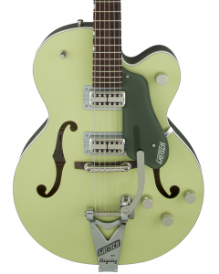 Gretsch G6118T-SGR Players Edition Anniversary Electric Guitar with String-Thru Bigsby. Filter'Tron Pickups, 2-Tone Smoke Green