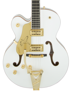 Gretsch G6136TLH-WHT Players Edition Falcon Left Handed Electric Guitar with Bigsby. Filter'Tron Pickups, White