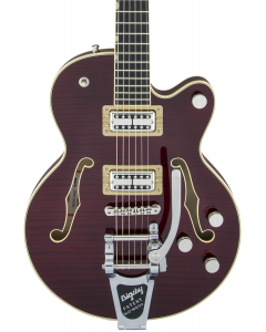 Gretsch G6659TFM Players Edition Broadkaster Jr. Center Block Single-Cut Electric Guitar with String-Thru Bigsby. Flame Maple, USA Full'Tron Pickups, Dark Cherry Stain