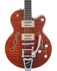 Gretsch G6659TFM Players Edition Broadkaster Jr. Center Block Single-Cut Electric Guitar with String-Thru Bigsby. Flame Maple, Ebony FB, Bourbon Stain
