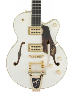 Gretsch G6659TG Players Edition Broadkaster Jr. Center Block Single-Cut Electric Guitar with String-Thru Bigsby. Gold Hardware, Ebony FB, Vintage White