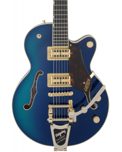 Gretsch G6659TG Players Edition Broadkaster Jr. Center Block Single-Cut Electric Guitar with String-Thru Bigsby. Gold Hardware, Ebony FB, Azure Metallic