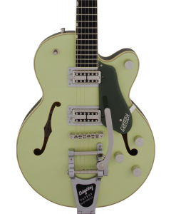 Gretsch G6659T Players Edition Broadkaster Jr. Center Block Single-Cut Electric Guitar with String-Thru Bigsby. USA Full'Tron Pickups, Ebony FB, Two-Tone Smoke Green