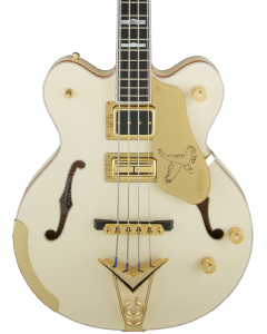 Gretsch G6136B-TP Tom Petersson Signature Falcon 4-String Bass with Cadillac Tailpiece. Rumble Tron Pickup, Aged White Lacquer