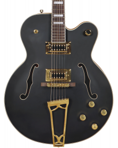 Gretsch G5191BK Tim Armstrong Signature Electromatic Hollow Body Electric Guitar. Gold Hardware, Flat Black