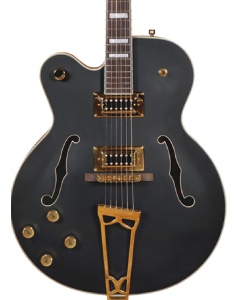 Gretsch G5191BK Tim Armstrong Signature Electromatic Hollow Body Left Handed Electric Guitar. Gold Hardware, Flat Black