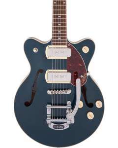 Gretsch G2655T-P90 Streamliner Center Block Jr. Double-Cut P90 w/ Bigsby Semi-Hollow Electric Guitar. Laurel Fingerboard, Two-Tone Midnight Sapphire and Vintage Mahogany Stain