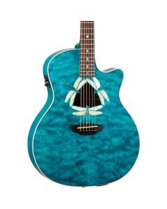 Luna Fauna Dragonfly Acoustic-Electric Guitar. Quilt Maple Teal