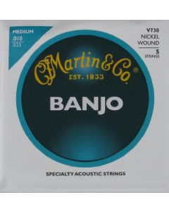 Martin V730 Vega Banjo Nickel Wound 5 String Medium, .010 - .023