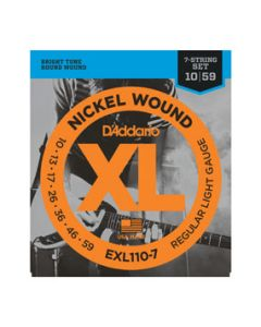 D'Addario EXL110-7 7-String Nickel Wound Electric Guitar Strings, Regular Light