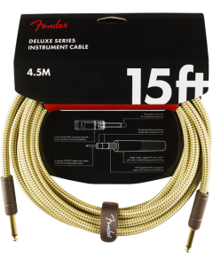 Fender Deluxe Series Instrument Cable 15' Straight Tweed