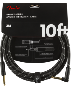 Fender Deluxe Series Straight To Angle Instrument Cable 10 Ft. Black Tweed