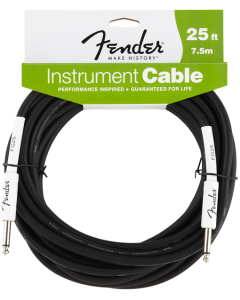 Fender Performance Series Black 25ft Instrument Cable - Straight Jack