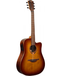 LAG Tramontane T118DCE-BRS Dreadnought Cutaway Acoustic-Electric Guitar. Brown Shadow