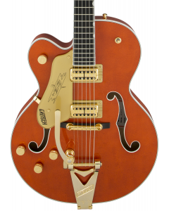 Gretsch G6120TLH Players Edition Nashville Left Handed Electric Guitar with Bigsby. Filter'Tron Pickups, Orange Stain
