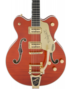 Gretsch G6620TFM Players Edition Nashville Center Block Double-Cut Electric Guitar with String-Thru Bigsby. Filter'Tron Pickups, Tiger Flame Maple, Orange Stain