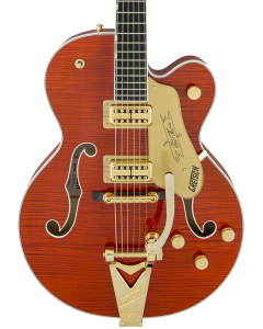 Gretsch G6120TFM Players Edition Nashville Electric Guitar with String-Thru Bigsby. Filter'Tron Pickups, Flame Maple, Orange Stain