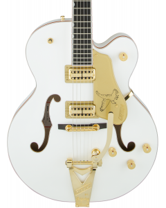 Gretsch G6136T-WHT Players Edition Falcon Electric Guitar with String-Thru Bigsby. Filter'Tron Pickups, White