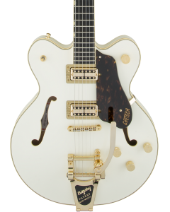 Gretsch G6609TG Players Edition Broadkaster Center Block Double-Cut Electric Guitar with String-Thru Bigsby. Gold Hardware, USA Full'Tron Pickups, Vintage White