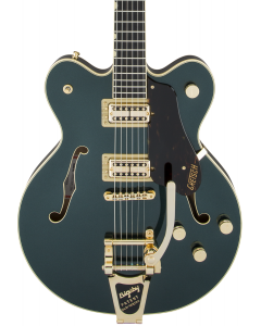 Gretsch G6609TG Players Edition Broadkaster Center Block Double-Cut Electric Guitar with String-Thru Bigsby. Gold Hardware, USA Full'Tron Pickups, Cadillac Green
