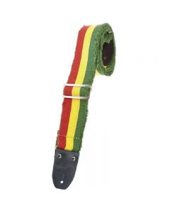 "Henry Heller 2"" Heavy Cotton Guitar Strap Green/Yellow/Red striped"