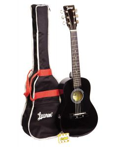 Lauren LAPKMBK 30in Acoustic Guitar Package. Black