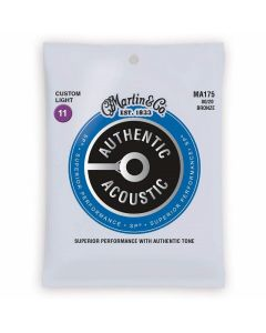 Martin MA175 SP 80-20 Bronze Custom-Light Authentic Acoustic Guitar Strings 11-52