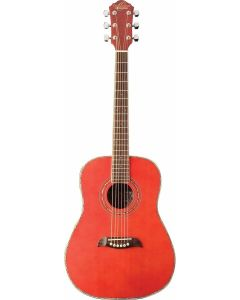 Oscar Schmidt OGHSTR 1/2 Size Dreadnought Acoustic Guitar. Trans Red