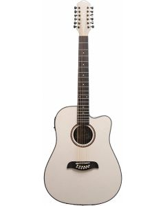 Oscar Schmidt OD312CEWH Cutaway 12 String Acoustic Electric Guitar. White