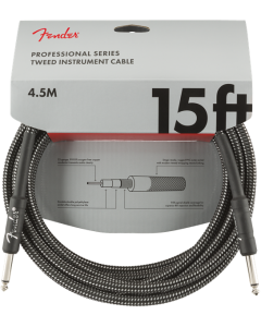 Fender Professional Series Straight To Straight Instrument Cable 15 Ft. Gray Tweed