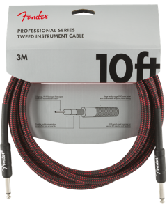 Fender Professional Series Straight To Straight Instrument Cable 10 Ft. Red Tweed