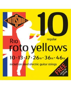 Rotosound R10 Roto Yellows Nickel Electric Guitar Strings .010-.046