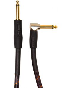 """Roland Gold Series RIC-G20A 1/4"""" Angled/Straight Instrument Cable 20 ft. Black"""
