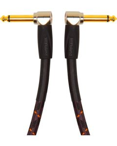 "Roland Gold Series RIC-G3AA 1/4"" Angled/Angled Instrument Cable 3 ft. Black"