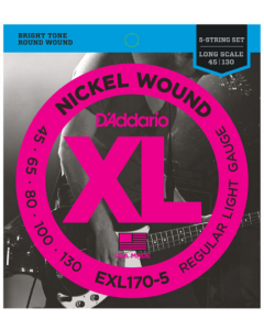 D'Addario EXL170-5 5-String Nickel Wound Bass Strings, Light, 45-130, Long Scale