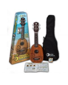 Luna Pineapple Ukulele Pack. Tattoo Mahogany