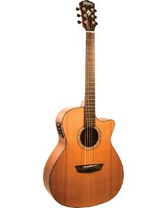 Washburn WLG110SWCEK Woodline Solidwood Series Grand Auditorium Cutaway Acoustic Electric Guitar